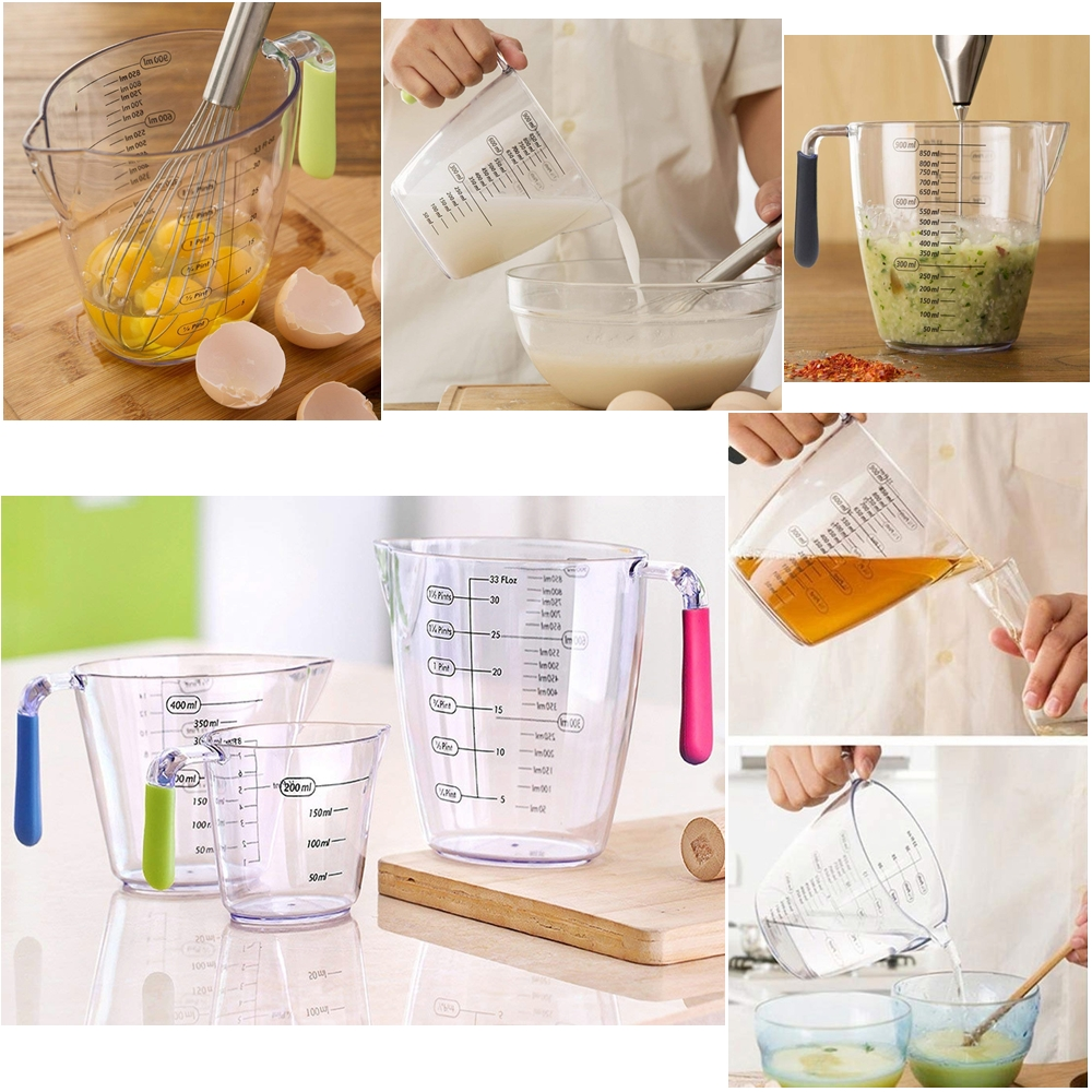 Set of 3 - Acrylic Clear Measuring Jug With Measurements & Handle, 900 ML /400 ML /200 ML Stackable Clear Heat-resistant Measuring Cups With Angled Grip and Spout For Dry Ingredients &